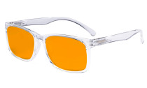 Blue Light Glasses - Design Computer Eyeglasses Reading Glasses with Orange Tinted Filter Lens for Men Women Anti Screen Glare Blocking Digital UV Rays - Transparent DSRT1805