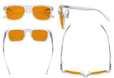 Large Frame Blue Blocking Glasses - Anti Digital Glare Eyewears with Orange Tinted Reduce Filter Lens UV Protection Computer Eyeglasses Reading Glasses Women - Transparent DS080