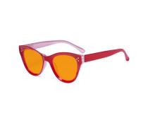 Oversized Blue Blocking Glasses - Anti Digital Glare Cat Eye Eyewears with Orange Tinted Reduce Filter Lens UV Protection Computer Reading Glasses Women - Red DS9108
