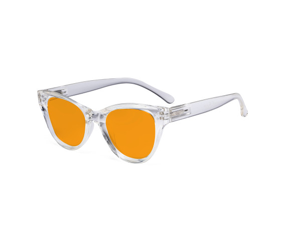 Oversized Blue Blocking Glasses - Anti Digital Glare Cat Eye Eyewears with Orange Tinted Reduce Filter Lens UV Protection Computer Reading Glasses Women - Transparent DS9108