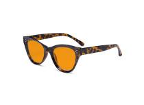 Oversized Blue Blocking Glasses - Anti Digital Glare Cat Eye Eyewears with Orange Tinted Reduce Filter Lens UV Protection Computer Reading Glasses Women - Tortoise DS9108