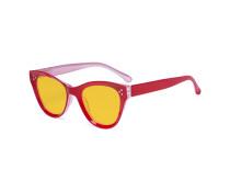 Oversized Blue Light Blocking Glasses - Anti Digital Glare Cat Eye Eyewears with Amber Filter UV Protection Computer Eyeglasses Reading Glasses Women - Red HP9108