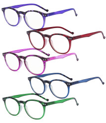 5 Pack Round Womens Reading Glasses - Stylish Oval Ladies Readers for Women Reading R071F-5pcs-Mix