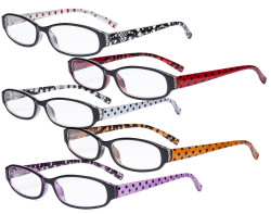 5 Pack Reading Glasses with Small Lens for Women - Cute Ladies Readers with Polka Dots Arms R9104P-5pcs-Mix