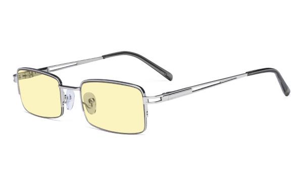 Half-rim Metal Frame Blue Light Blocking Glasses for Men Women Anti Glare Cut UV Rays - Yellow Tint Filter Lens Digital Eyeglasses for Computer Screen - Silver TMCG15041