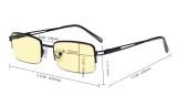 Half-rim Metal Frame Blue Light Blocking Glasses for Men Women Anti Glare Cut UV Rays - Yellow Tint Filter Lens Digital Eyeglasses for Computer Screen - Gold TMCG15041