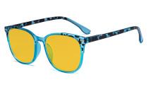 Oversize Blue Light Glasses Women - Blocking UV Ray Anti Screen Glare Computer Eyeglasses Reading Glasses with Amber Tinted Filter Lens - Blue HP9001D