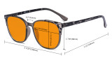 Oversize Blue Light Glasses Women - Blocking UV Ray Anti Screen Glare Nighttime Computer Eyeglasses Reading Glasses with Orange Tinted Filter Lens - Grey DS9001D