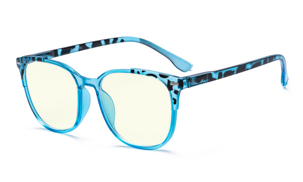Oversized Blue Light Filter Glasses Women - Blocking UV Ray Anti Screen Glare Computer Eyeglasses Reading Glasses - Blue UVR9001D