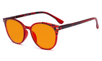 Round Oversize Blue Light Glasses Women - Blocking UV Ray Anti Screen Glare Nighttime Computer Eyeglasses Reading Glasses with Orange Tinted Filter Lens - Tortoise/Red DS9002D