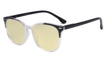 Oversize Blue Light Blocking Glasses Women - Anti Digital Glare UV Ray Computer Eyeglasses Reading Glasses with Yellow Filter Lens - Black TM9001C
