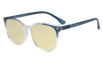 Oversize Blue Light Blocking Glasses Women - Anti Digital Glare UV Ray Computer Eyeglasses Reading Glasses with Yellow Filter Lens - Blue TM9001C
