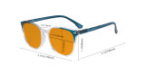 Oversize Blue Light Blocking Glasses Women - Anti Digital Glare UV Ray Computer Eyeglasses Reading Glasses with Orange Tinted Filter Lens - Blue DS9001C