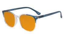 Oversize Blue Light Blocking Glasses Women - Anti Digital Glare UV Ray Computer Eyeglasses Reading Glasses with Orange Tinted Filter Lens - Blue DS9001C