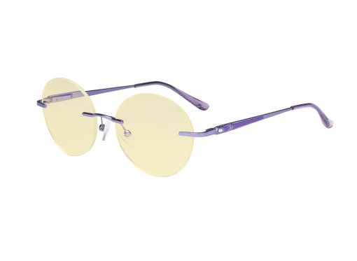 Round Rimless Blue Light Glasses - Ladies Computer Eyeglasses Reading Glasses with Yellow Tint Filter Lens for Women Anti Screen Glare Blocking Digital UV Rays - Purple TMWK9910A