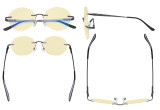 Round Rimless Blue Light Glasses - Ladies Computer Eyeglasses Reading Glasses with Yellow Tint Filter Lens for Women Anti Screen Glare Blocking Digital UV Rays - Gunmetal TMWK9910A