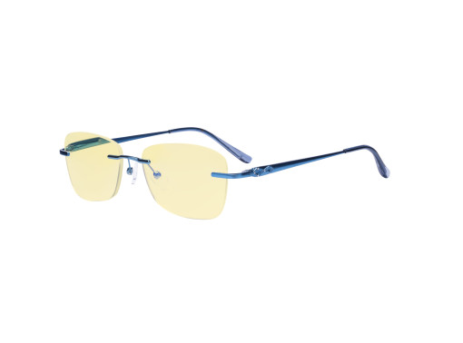 Frameless Blue Light Blocking Glasses - Rimless Anti Digital Glare Eyewears with Yellow Filter UV Protection Computer Reading Eyeglasses Men Women - Blue TMWK9906A