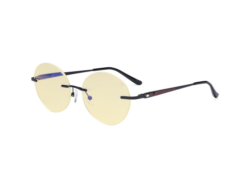 Round Rimless Blue Light Glasses - Ladies Computer Eyeglasses Reading Glasses with Yellow Tint Filter Lens for Women Anti Screen Glare Blocking Digital UV Rays - Black TMWK9910A