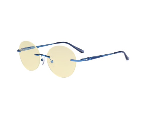 Round Rimless Blue Light Glasses - Ladies Computer Eyeglasses Reading Glasses with Yellow Tint Filter Lens for Women Anti Screen Glare Blocking Digital UV Rays - Blue TMWK9910A