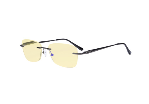 Frameless Blue Light Blocking Glasses - Rimless Anti Digital Glare Eyewears with Yellow Filter UV Protection Computer Reading Eyeglasses Men Women - Gunmetal TMWK9906A