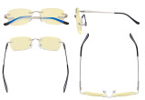Frameless Blue Light Blocking Glasses - Rimless Anti Digital Glare Eyewears with Yellow Filter UV Protection Computer Reading Eyeglasses Men Women - Silver TMWK9906A