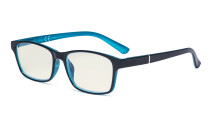 Blue Light Filter Glasses Women Men - Blocking UV Ray Anti Screen Glare Computer Eyeglasses Reading Glasses - Black/Blue UVE19042
