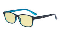 Blue Light Glasses Women Men - Blocking UV Ray Anti Screen Glare Computer Eyeglasses Reading Glasses with Yellow Filter Lens - Black/Blue TME19042