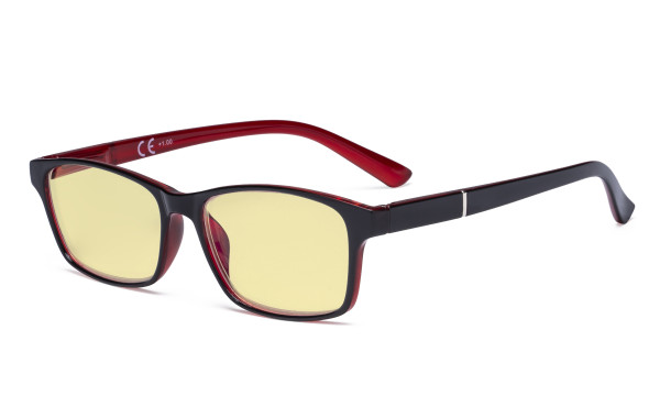 Blue Light Glasses Women Men - Blocking UV Ray Anti Screen Glare Computer Eyeglasses Reading Glasses with Yellow Filter Lens - Black/Red TME19042