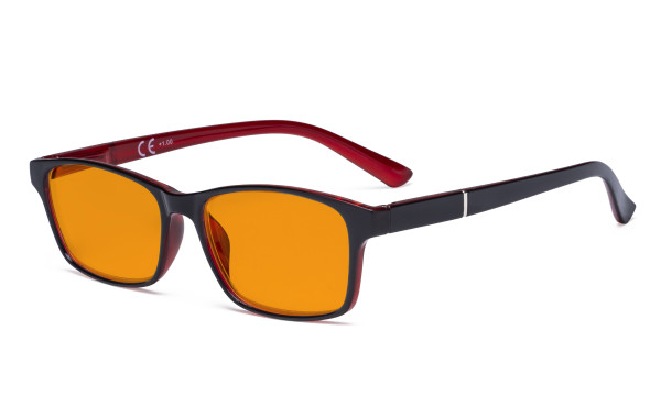 Blue Light Glasses Women Men - Blocking UV Ray Anti Screen Glare Nighttime Computer Eyeglasses Reading Glasses with Orange Tinted Filter Lens - Black/Red DSE19042