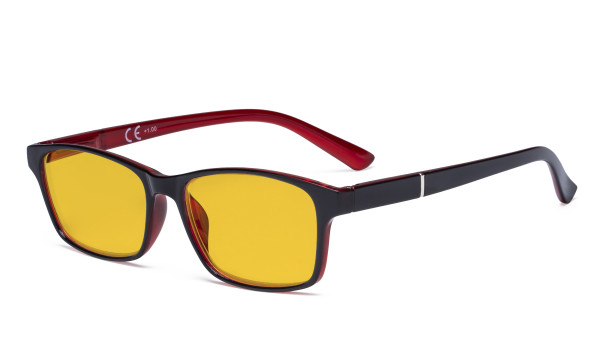 Blue Light Glasses Women Men - Blocking UV Ray Anti Screen Glare Computer Eyeglasses Reading Glasses with Amber Tinted Filter Lens - Black/Red HPE19042