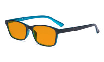Blue Light Glasses Women Men - Blocking UV Ray Anti Screen Glare Nighttime Computer Eyeglasses Reading Glasses with Orange Tinted Filter Lens - Black/Blue DSE19042