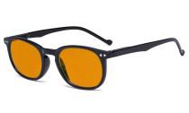 Retro Blue Light Glasses Women Men - Blocking UV Ray Anti Screen Glare Nighttime Computer Eyeglasses Reading Glasses with Orange Tinted Filter Lens - Black DSR065