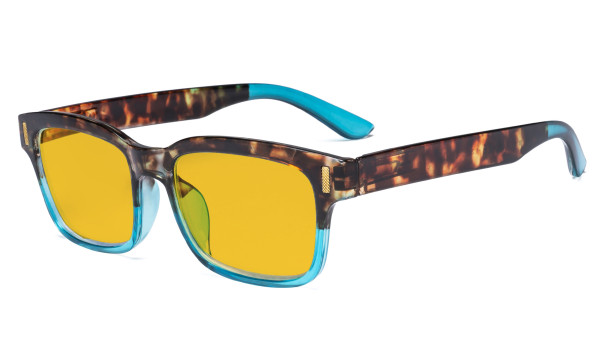 Ladies Blue Light Blocking Glasses - Anti UV Rays Screen Glare Computer Eyeglasses Reading Glasses for Women with Amber Tinted Filter Lens - Tortoise/Blue HP1802