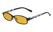 Small Lens Blue Light Blocking Glasses Women - Anti UV Ray Cut Digital Screen Glare Computer Eyeglasses Reading Glasses with Amber Tinted Filter Lens and Pattern Design - Purple HP908