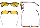 Small Lens Blue Light Blocking Glasses Women - Anti UV Ray Cut Digital Screen Glare Computer Eyeglasses Reading Glasses with Amber Tinted Filter Lens and Pattern Design - Red HP908