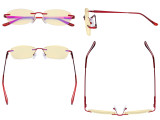 Rimless Blue Light Blocking Glasses - Anti Digital Glare Eyewears with Yellow Filter UV Protection Computer Eyeglasses Reading Glasses Women - Red TMWK9903A