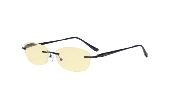 Rimless Blue Light Blocking Glasses - Anti Digital Glare Eyewears with Yellow Filter UV Protection Computer Eyeglasses Reading Glasses Women - Black TMWK9903A