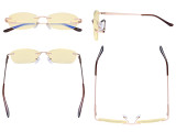 Rimless Blue Light Blocking Glasses - Anti Digital Glare Eyewears with Yellow Filter UV Protection Computer Eyeglasses Reading Glasses Women - Gold TMWK9903A