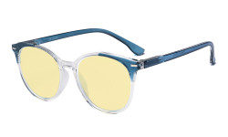 Oversized Blue Light Blocking Glasses - Anti Digital Glare Readers with Yellow Filter UV Protection Round Computer Eyeglasses Women - Blue TM9002C