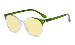 Oversized Blue Light Blocking Glasses - Anti Digital Glare Readers with Yellow Filter UV Protection Round Computer Eyeglasses Women - Green TM9002C