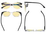 Oversized Blue Light Blocking Glasses - Anti Digital Glare Readers with Yellow Filter UV Protection Round Computer Eyeglasses Women - Black TM9002C