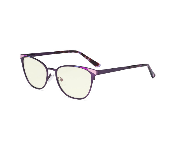 Blue Light Filter Glasses for Women Blocking Digital Glare - Butterfly Design Computer Eyegalsses Anti Screen UV Rays with Transparent Blue Lens - Purple LX19035-BB40