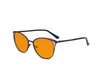 Ladies Nighttime Blue Blocking Glasses - Butterfly Design Computer Eyegalsses Women Anti Screen Light UV Rays - Blocking Digital Glare with Orange Tint Filter Lens - Black LX19031-BB98
