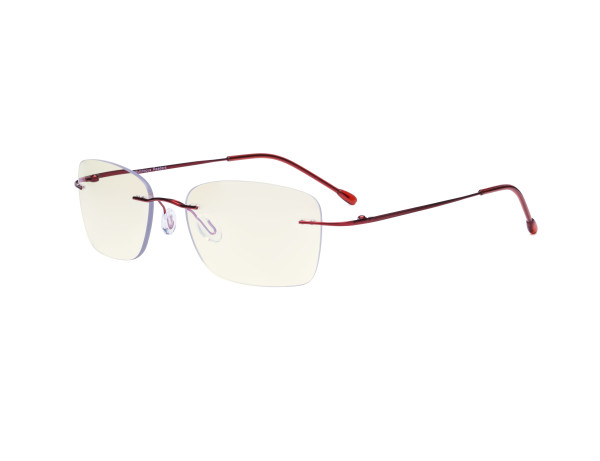 Rimless Progressive Readers Women - UV Protection Rimless Multifocus Computer Readers - Noline Bifocal Reading Glasses - Red MWK9905B