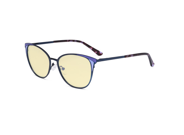 Ladies Blue Light Blocking Glasses - Butterfly Design Computer Eyegalsses Women Anti Screen UV Rays - Blocking Digital Glare with Yellow Tint Filter Lens - Blue LX19031-BB60