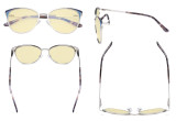 Ladies Blue Light Blocking Glasses - Butterfly Design Computer Eyegalsses Women Anti Screen UV Rays - Blocking Digital Glare with Yellow Tint Filter Lens - Silver LX19031-BB60