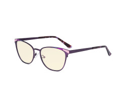 Blue Light Blocking Glasses for Women Block Digital Glare - Butterfly Design Computer Eyegalsses Anti Screen UV Rays with Yellow Tint Filter Lens - Purple LX19035-BB60
