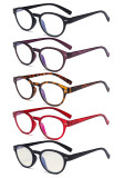 5-Pack Retro Key Hole Oval Round Spring-Hinges Reading Glasses Include Computer Readers R091-Mix