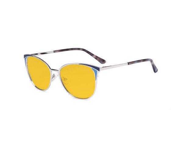 Ladies Blue Light Blocking Glasses - Butterfly Design Computer Eyegalsses Women Anti Screen UV Rays - Blocking Digital Glare with Amber Tint Filter Lens - Silver LX19031-BB90