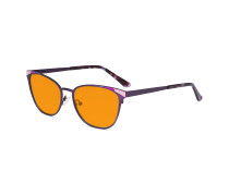 Nighttime Blue Blocking Glasses for Women Block Digital Glare - Butterfly Design Computer Eyegalsses Women Anti Screen Light UV Rays with Orange Tint Filter Lens - Purple LX19035-BB98